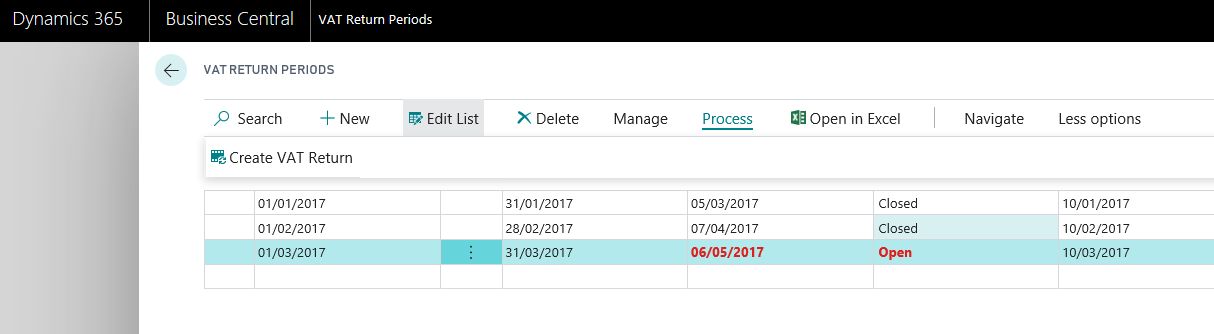 Creating VAT returns based on VAT obligations - When creating a new VAT return, you will not need to enter any dates. This is because the start/end dates of your VAT obligations are already stored, allowing for a one-click creation of a VAT return.
