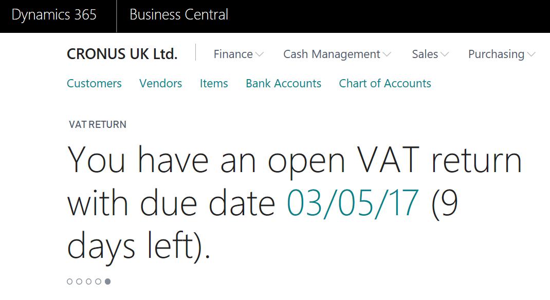 Dynamics 365 Business Central Making Tax Digital VAT Return
