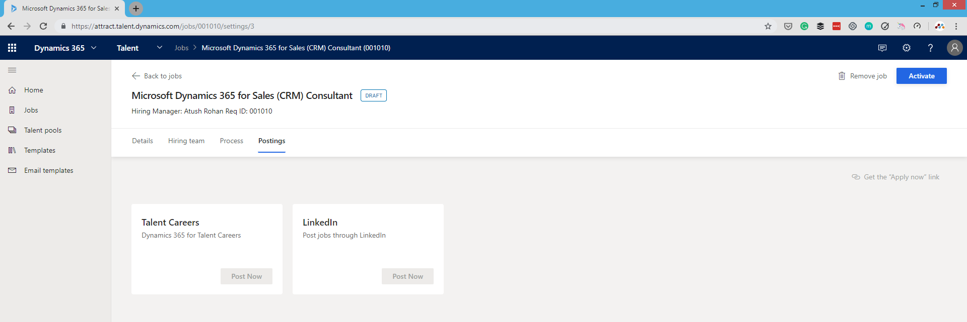 Posting the job ad in Dynamics 365 for Talent