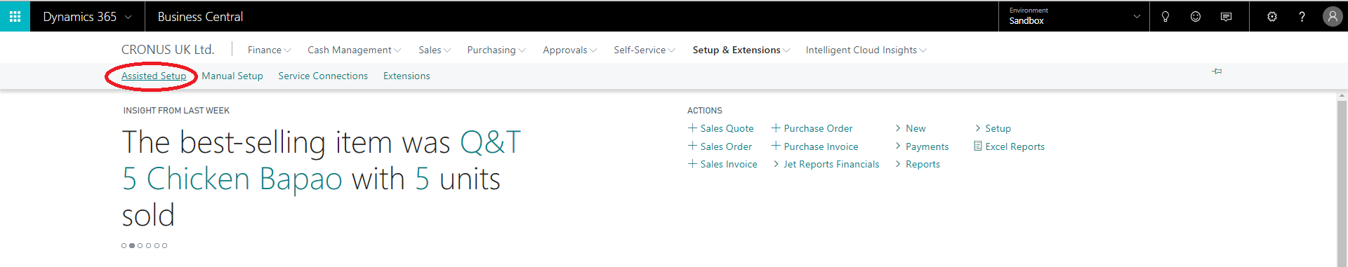 Finding the assisted setup menu in Microsoft Dynamics 365 Business Central;