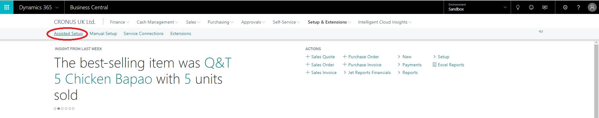 Localizando o menu de instalação assistida no Microsoft Dynamics 365 Business Central;