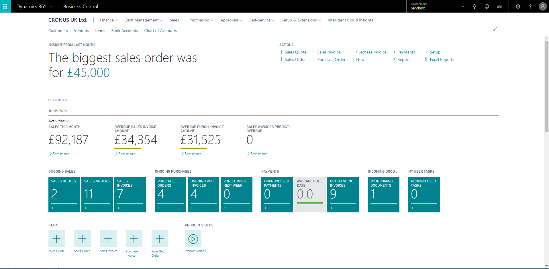User interface of Microsoft Dynamics 365 Business Central