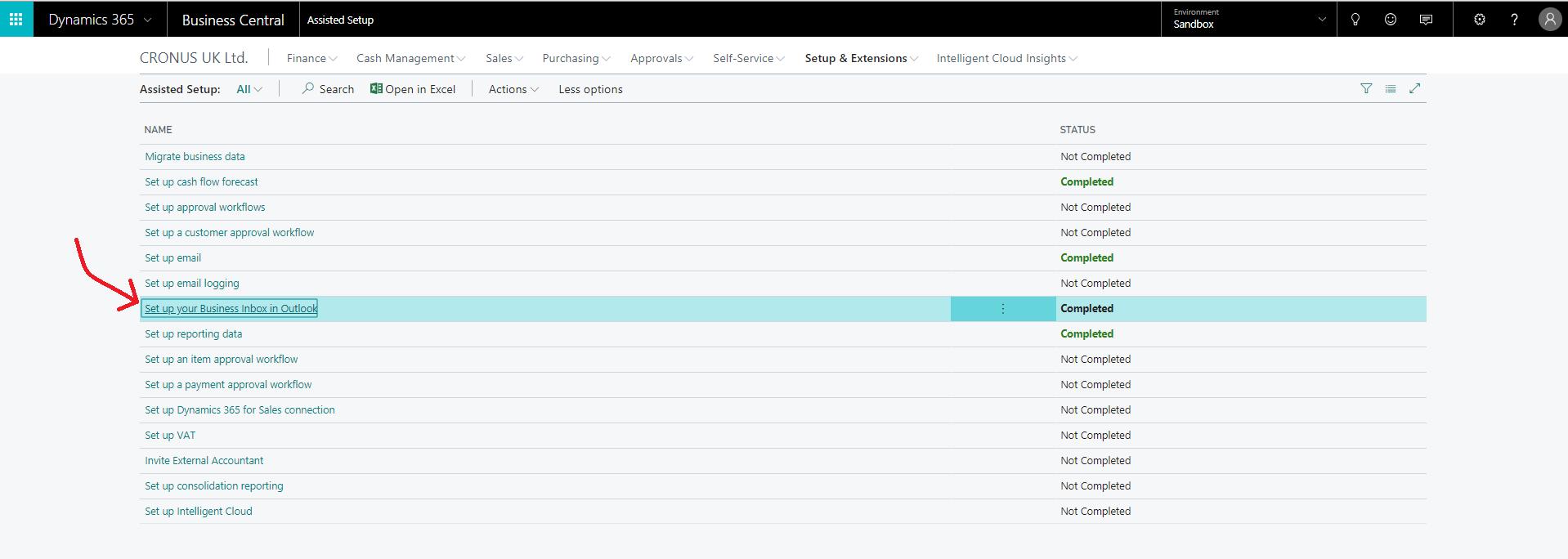 Navegando para configurar a caixa de entrada de negócios no Microsoft Dynamics 365 Business Central