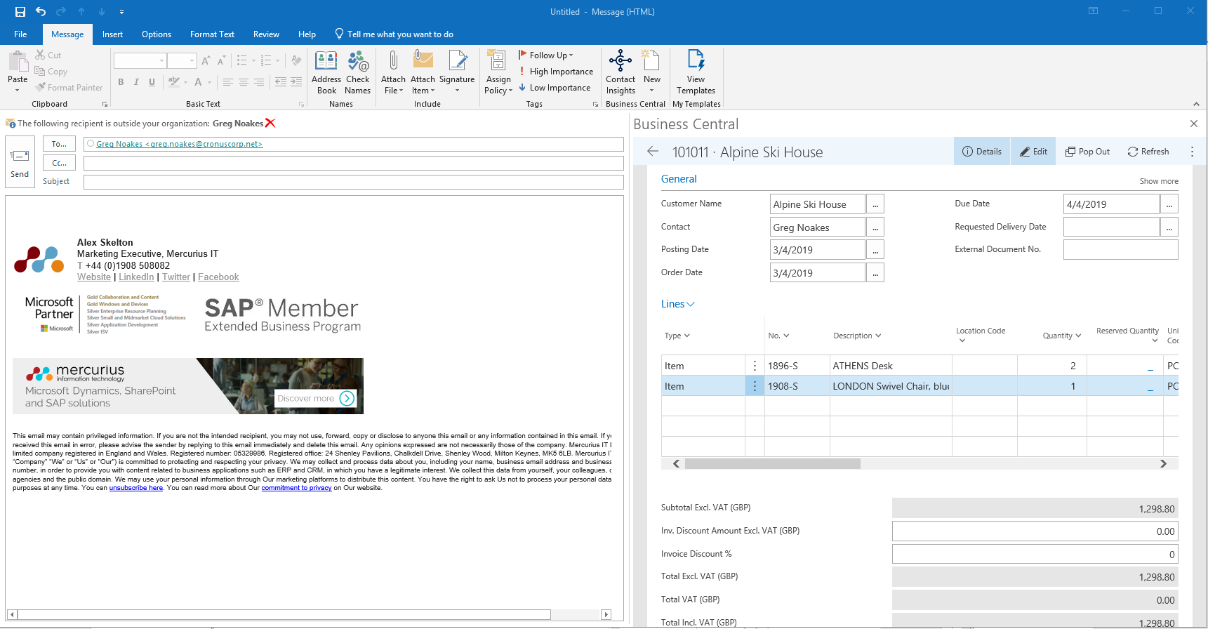 Criando um documento financeiro da Central de Negócios diretamente no Outlook