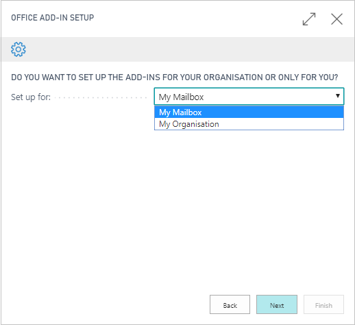 Selecting to install the add-in personally or for whole organisation