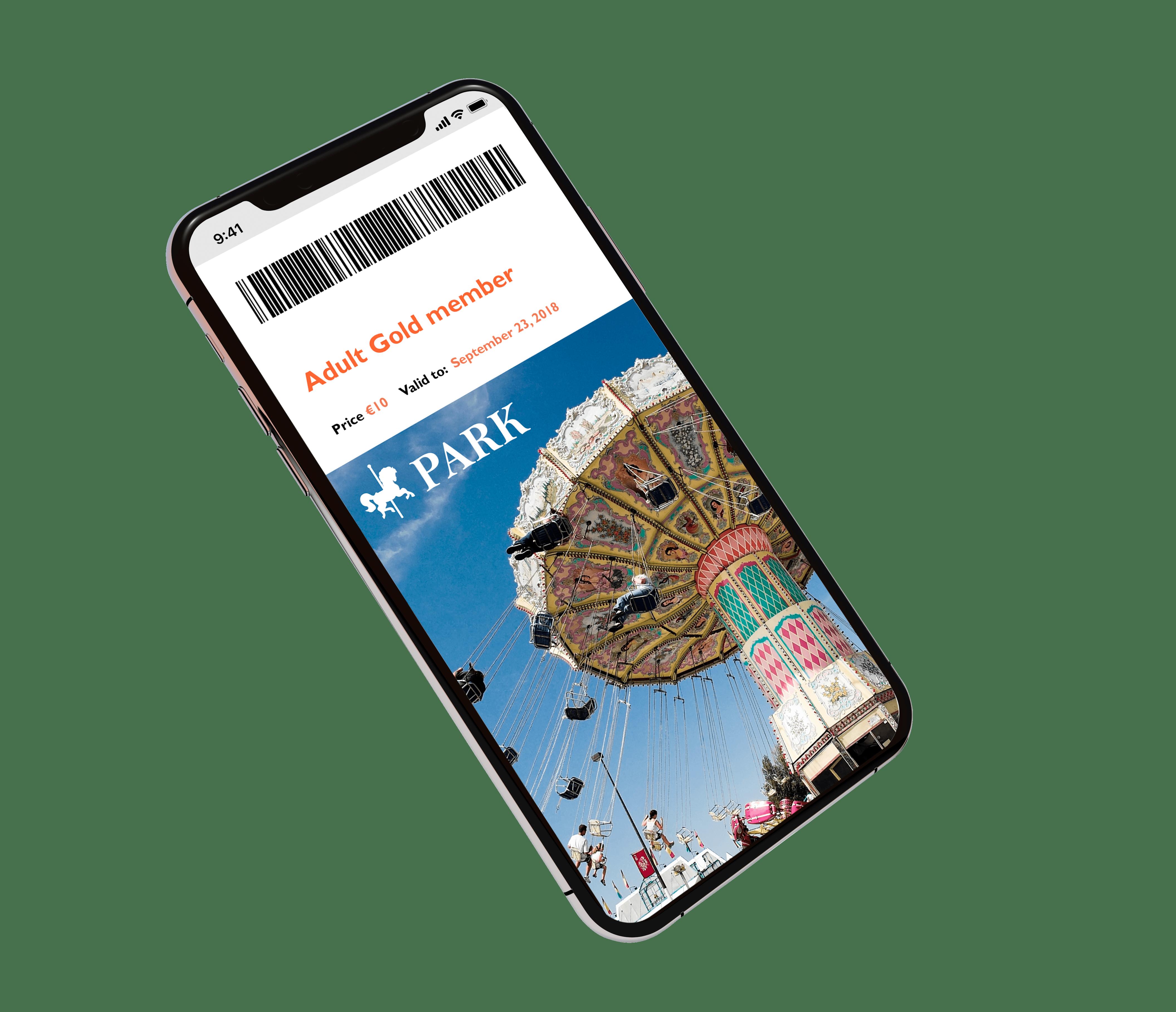 Theme park ticket displayed in digital mobile wallet