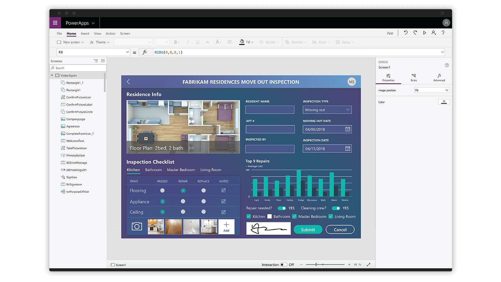 Microsoft PowerApps user interface