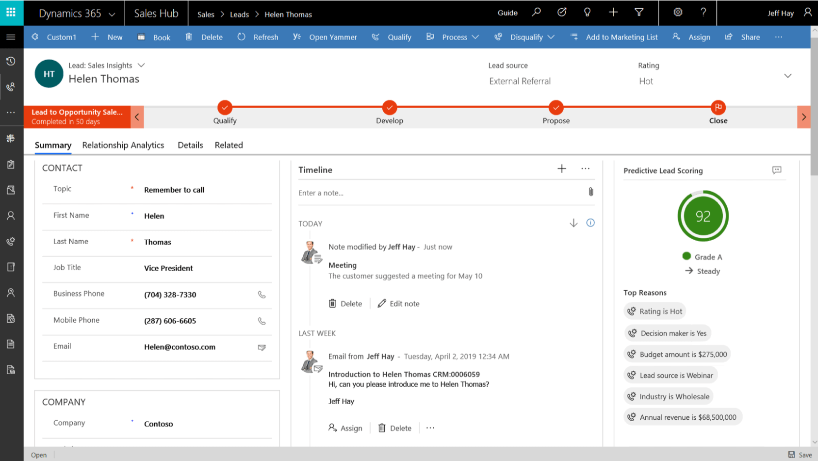 Dynamics 365 Sales Insights Lead Scoring Screenshot