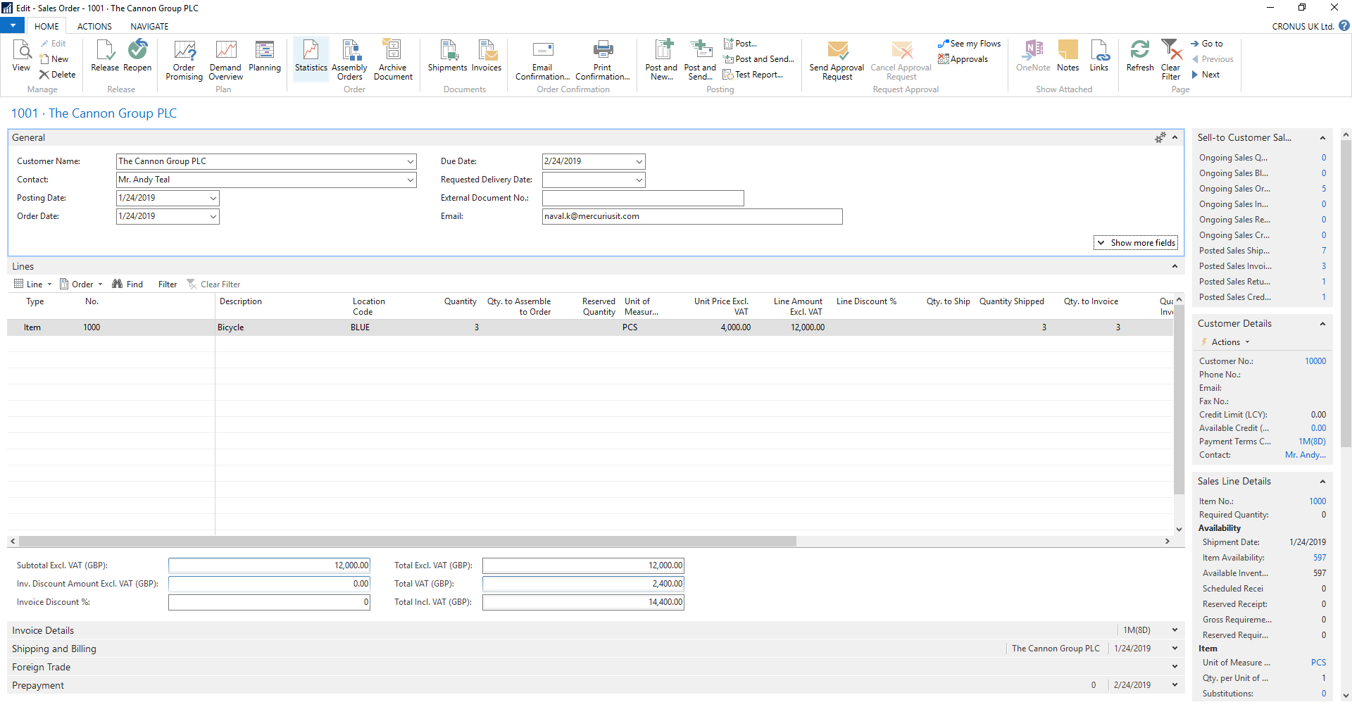 Microsoft Dynamics NAV screen of sales order