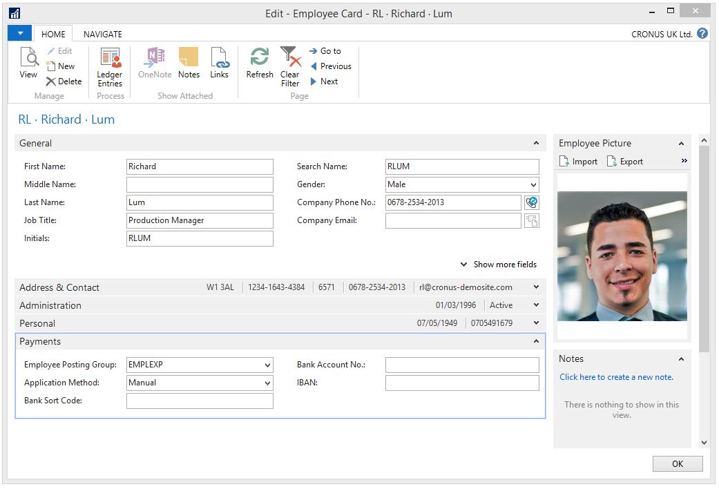 Employee card in Microsoft Dynamics NAV